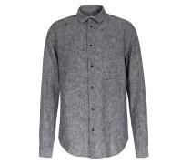 Leinen-baumwoll Hemd Mit Druckknöpfen Blau Meliert