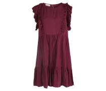 Viskose-kleid Rosseau Mit Volantdetails Weinrot