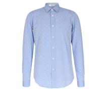 Baumwoll-Hemd mit Mikro-Muster Hellblau