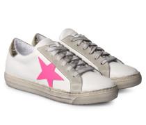 Sneakers Vitello Bianco Crack Weiß