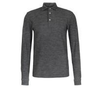 Meliertes Langarm-Poloshirt aus Schurwoll-Baumwoll-Mix Grigio
