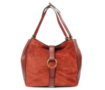 Veloursleder-Hobo-Bag Quincy mit goldenen Details