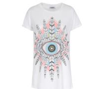 Shirt Edda mit Federprint Weiß