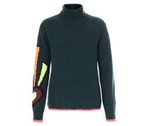 Schurwoll-Pullover mit Rollkragen Dunkelgrün