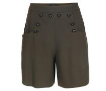 Woll-mix Shorts Mit Knopfverzierung Khaki