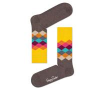 -Socken mit Rauten-Muster Braun