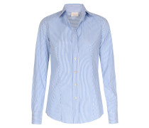 Business-bluse Gestreift Aus Baumwolle Blau/weiß