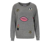 Leichter Sweater Aggie mit Print Heather Grey