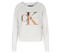 Baumwoll-sweater Mit Metallic-schriftzug Vanille