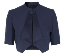 Bolero mit Satin-Revers in Dunkelblau