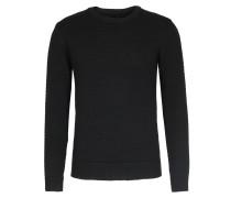 Merinowoll-Pullover mit Wabenmuster Black