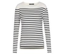 Baumwoll-Pullover mit Streifen Creme/Schwarz