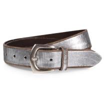 Ledergürtel mit Metallic-Finish Silber