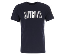 T-Shirt Saturdays Condensed mit Print Midnight