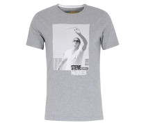 Baumwoll-Shirt mit Steve McQueen Print Grey Marl