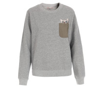 Baumwoll-Sweater mit Stickerei Hellgrau