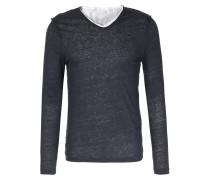 Layered Leinen Langarm-shirt Florian Dark Navy