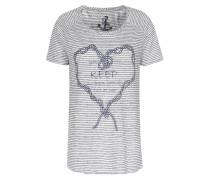 Gestreiftes Leinen-shirt Mit Print Schwarz/weiß