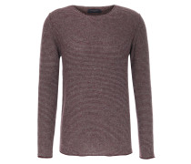 Pullover aus Alpaka-Merinowoll-Mix Rot/Grau gestreift