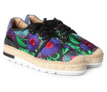 Espadrille-Sneakers mit floralem Stitching Negro