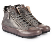 High-top-sneakers Loin Zip Camosio Metallic Grigio