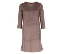 Kleid In Veloursleder-optik Mit 3/4-arm