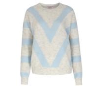 Gestreifter Pullover Im Woll-alpaka-mix Blue/grey