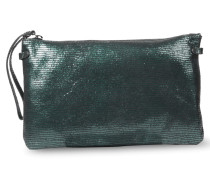 Clutch mit Metallic-und Reptilienprägung Bottle Green