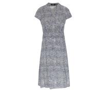 Viskose-kleid Mit Wellenprint Blau/creme