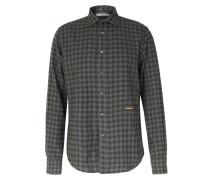 Kariertes Flanellhemd aus Baumwolle Olive/Grey