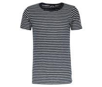 Crew Neck T-Shirt mit Streifen Navy Offwhite