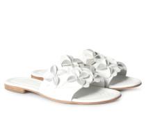 Sandalen Elle mit Blütenbesatz Bianco