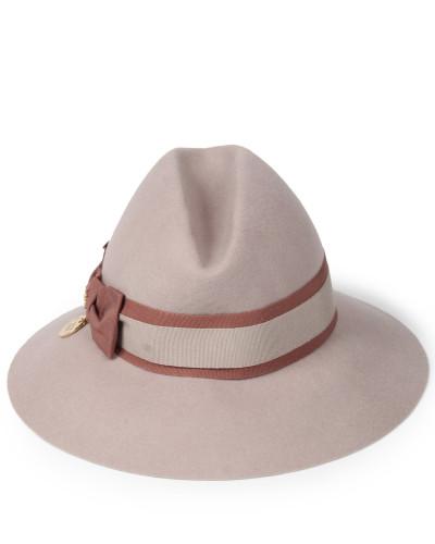 Fedora-Hut aus Wollfilz mit Ripsschleife