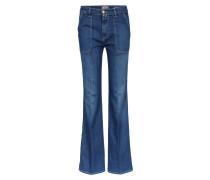 High Waist Jeans Flared Blue Denim