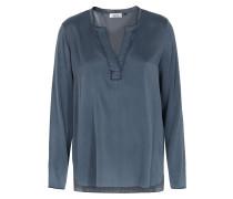 Seiden-mix Bluse Blau-grau