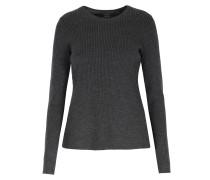 Gerippter Pullover Aus Stretch-merinowolle Mit Schößchen
