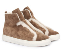 Sneakers Basket High-top Mit Lammfell Taupe