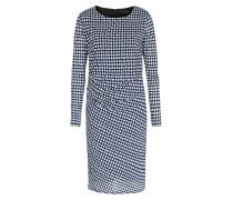 Gemustertes Kleid Mit Drapierung Navy/creme