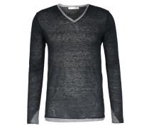 Leinen-Pullover mit Kontrast-Bündchen