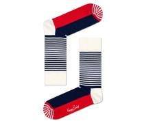 -Socken mit Streifen Blau/Rot/Weiß