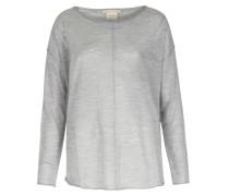 Leichter Woll-sweater Mit Brusttasche Hellgrau