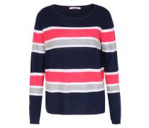 Gestreifter Cashmere-Pullover Dunkelblau