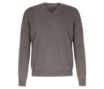 Cashmere-Pullover mit V-Ausschnitt Greige