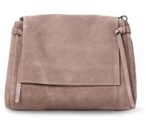Veloursleder-Tasche mit Umschlag Almond