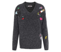 Pullover im Woll-Mix mit Patches Anthrazit