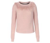 Pullover im Material-Mix mit Fransen-Detail Rosa
