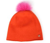 Beanie-wollmütze Mit Abnehmbarem Fellbommel Orange/pink