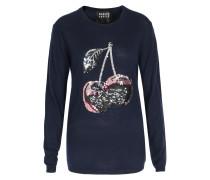Merinowoll-Pullover mit Pailletten-Kirschen Dunkeblau