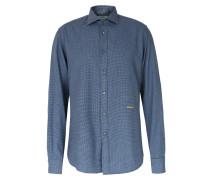 Flanellhemd mit Hahnentritt-Muster aus Baumwolle Blue
