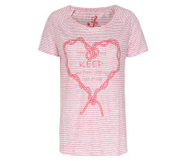 Gestreiftes Leinen-shirt Mit Print Rot/weiß